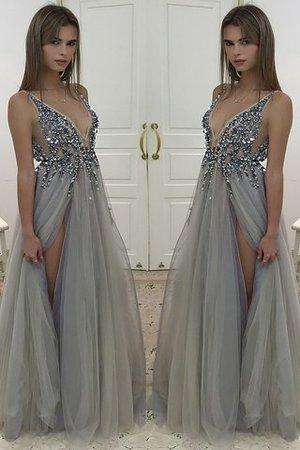 108f46dfa58632 A Linie V-Ausschnitt Tüll Prinzessin Ärmelloses Abendkleid
