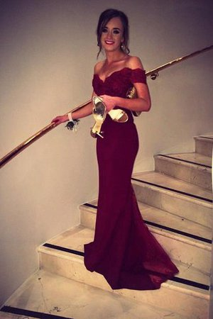72ae211dcfc424 Ärmelloses Natürliche Taile Meerjungfrau Sweep Zug Abendkleid mit Bordüre